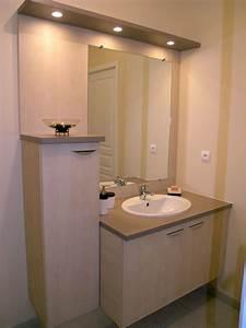 meuble de salle de bains sur mesure avec miroir et bandeau With meuble miroir salle de bain lumineux