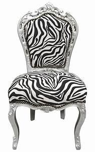 Chaise Style Baroque : chaise de style baroque rococo tissu zebre et bois argent ~ Teatrodelosmanantiales.com Idées de Décoration