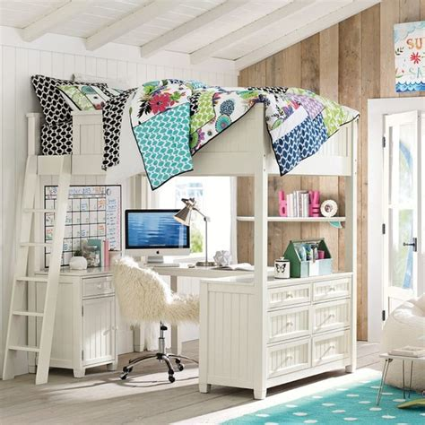 Pottery Barn White Loft Bed With Desk by Beadboard Loft Bed Loft Beds Other Metro By Pbteen