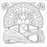 Nouveau Coloring Pages Patterns Deco Printable Mucha Pattern Alphonse Flowers Colouring 1920s Adults Embroidery Adult Flower Quilting Everfreecoloring Etc Di sketch template