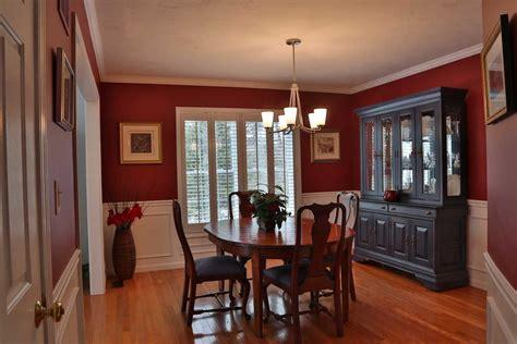 red dining room staged  debbe daley designs llc benjamin moore   raspberrytruffle