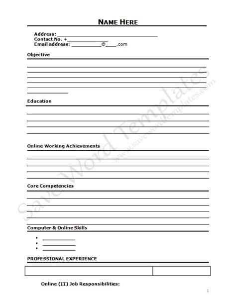 blank cv template free uk
