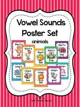 vowel sounds poster set long  short vowels animals tpt