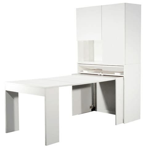meuble avec table extensible genio blanc