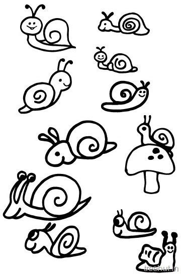 cute snail drawing  coloring pages