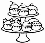 Cupcake Coloring Cupcakes Pages Cute Printable Clipart Drawing Food Kawaii Template Cookie Colouring Sheets Clip Cookies Dessert Print Shopkins Birthday sketch template