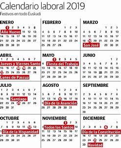Calendario laboral 2019 festivos y puentes en Euskadi