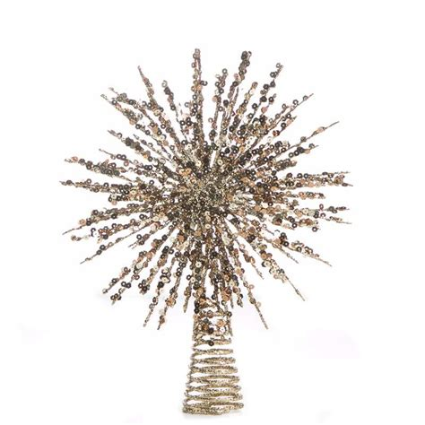 gold glittered wire starburst tree topper christmas trees and toppers christmas and winter