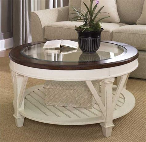 White Wood Round Coffee Table With Glass Top Home
