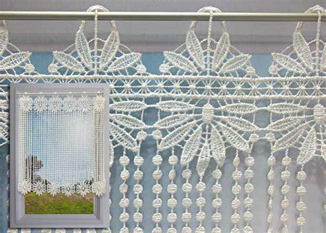 macrame rideau cuisine brise bise macramé écru motif fleurs et perles rideau macramé pas cher