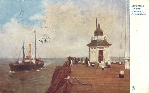 entrance   harbour gorleston light tuckdb postcards