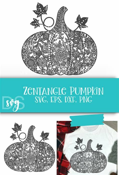 Perfect for wall vinyl or signs! Zentangle, Pumpkin, Fall SVG, Thanksgiving, Halloween