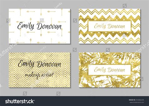 Set 4 Gold White Business Card Stock Vector 316902239 Vistaprint Business Card Box Binder Sleeves Software For Windows 7 Amazon Concord Book Blank Stickers Using Qr Code Discover Cash Back
