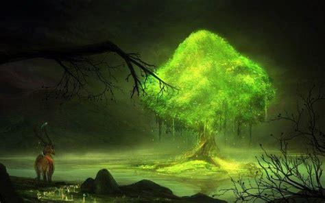 Glowing Animal Wallpaper - digital nature trees glowing animals