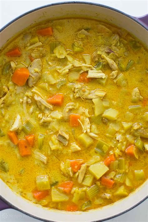 Snow peas, spinach, and chicken breast give this coconut curry chicken soup flavor, texture, and a wealth of nutrients. Chicken Mulligatawny Soup Recipe   SimplyRecipes.com