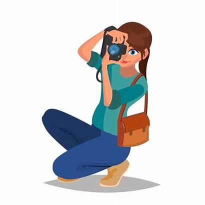 Cartoon Photographer Camera Character Woman Flat Studio