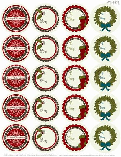 Labels Christmas Printable Label Tags Rustic Round