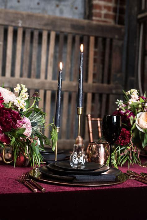 moody burgundy black industrial wedding ideas