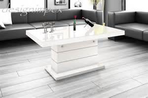 designer tisch weiss design couchtisch h 333 weiß hochglanz höhenverstellbar ausziehbar tisch hochglanzmöbel couchtische