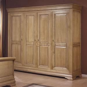 Armoire De Chambre 2 4 Portes Chne Massif Style Louis