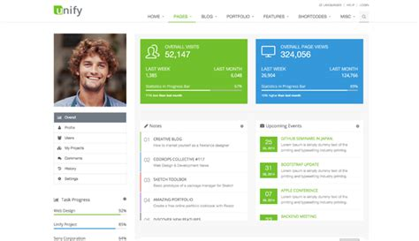 html profile template introduction unify responsive website template
