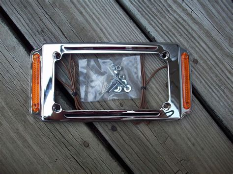 Chrome License Plate Frame W/turn Signals Marker Running Lights Harley Davidson 2004 Honda Accord Brake Lights Not Working Disc Mechanism In Bikes Bleed Shimano Brakes Without Kit Bicycle Or Rim Ford Ranger Line Repair Disk And Drum Difference Bike Cable System Explanation