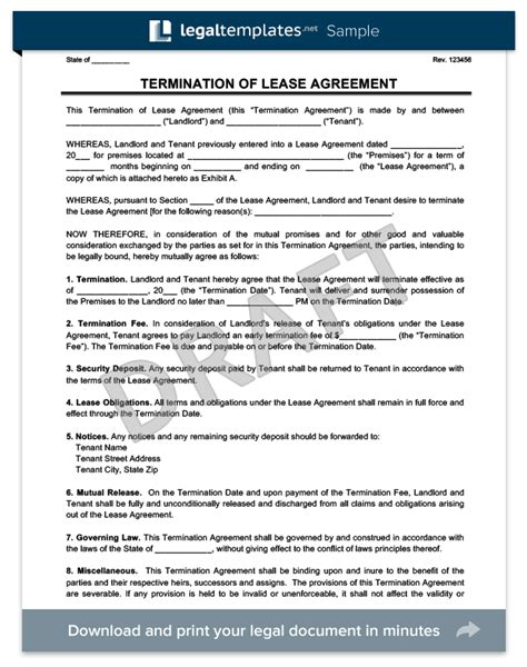 lease termination letter  minutes legal