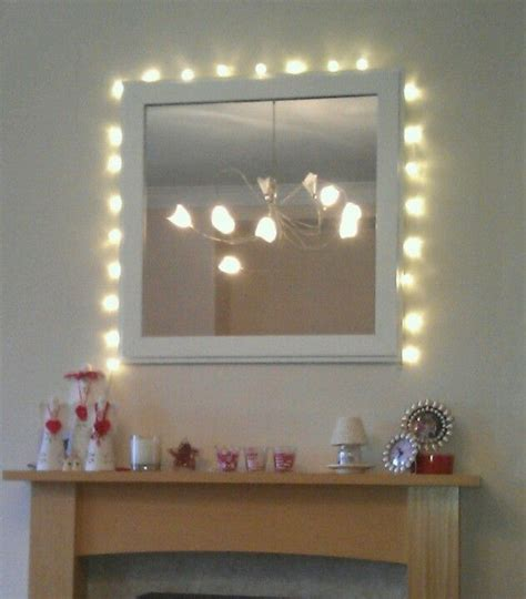 bedroom mirrors with lights around them fairy lights around mirror over fireplace i like 20275 | 9cf1decf0a95ef6f04ba536f20268179