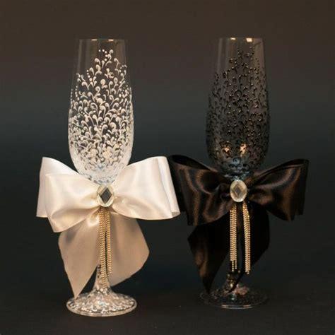 wedding glasses personalized champagne glasses black