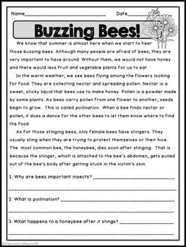 reading comprehension passages  questions reading