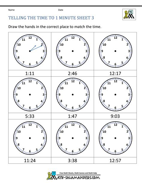 printable clock worksheets telling  time   min