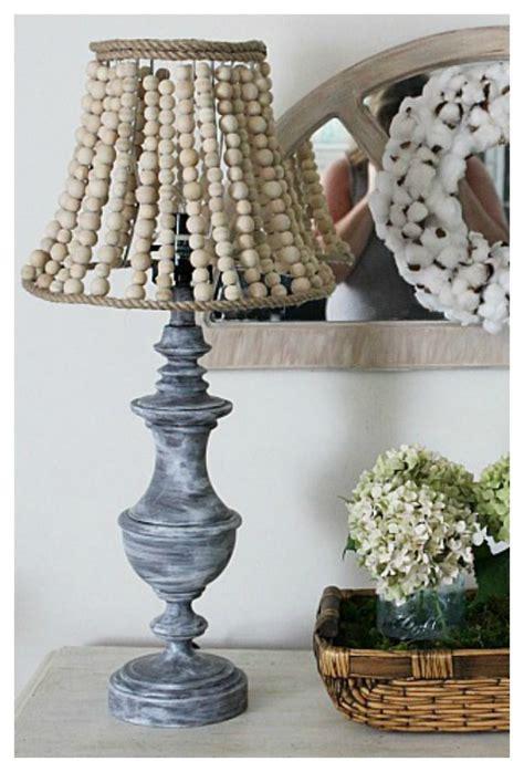 pottery barn inspired wood bead lamp  crafty mom