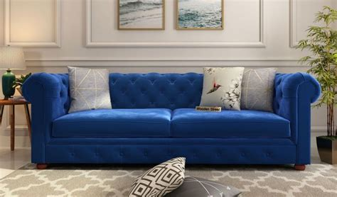 buy henry  seater sofa velvet indigo blue