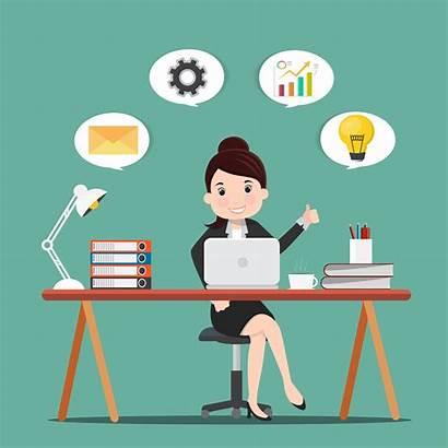 Woman Business Productivity Working Desk Illustration Clipart