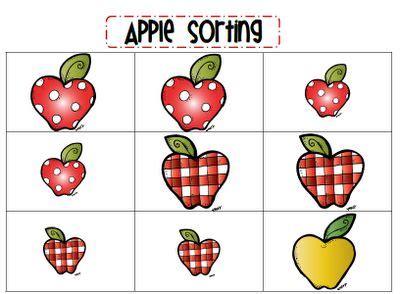 88 best sorting color shape amp size images on 600 | f46724d6071f71fc46f6edb049a10ab8 preschool apples apple ideas