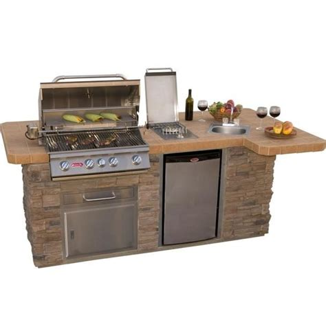 kitchen island grill bull outdoor products bbq island w angus grill sink side burner refrigerator one of the