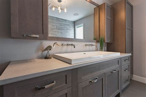 stained bathroom cabinets a contemporary bathroom in a gray wood stain bathroom Grey