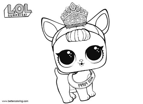 Lol Pets Kleurplaat by Lol Pets Coloring Pages Miss Puppy Free Printable