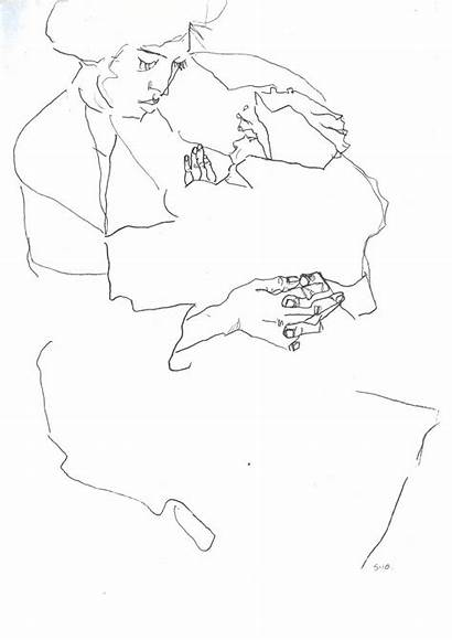 Contour Drawing Schiele Wikipedia Kind Mit