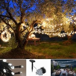 Guirlande Led Blanche : guirlande 50 leds solaire blanches decorative eclairage et d corat ~ Teatrodelosmanantiales.com Idées de Décoration
