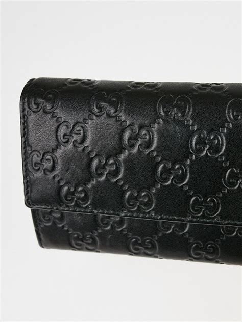 gucci black guccissima leather wallet chain clutch bag yoogis closet