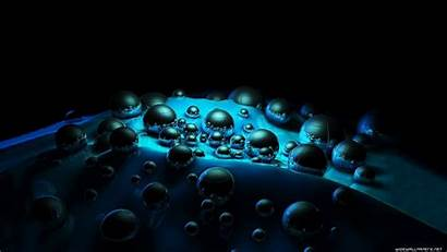 3d Background Dark Wallpapers Bubbles Surface Drops