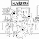 Coloring Restaurant Burgers Happy Bob Printable Bobs Tina Belcher Gene Louise Coloringonly sketch template