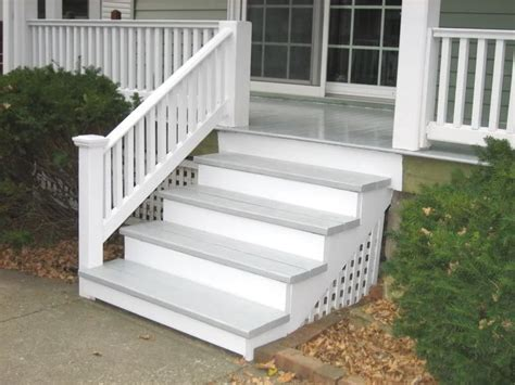 front porch stairs grey and white porch steps exterior house pinterest wood steps stairs and porches