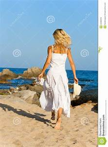 Young Woman In White Dress Running. Royalty Free Stock ...