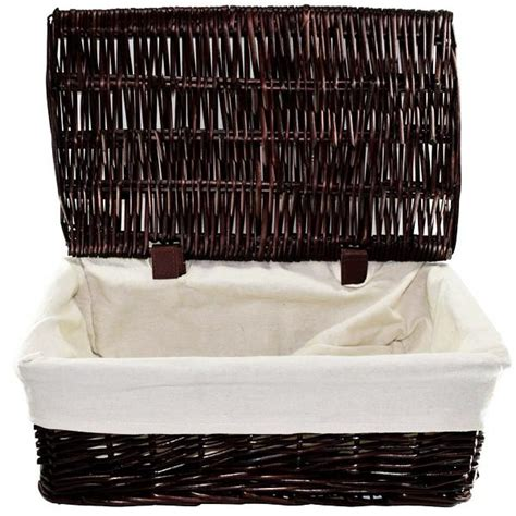 wicker lidded baskets chocolate brown 3 pack home