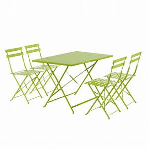 Table Pliante Metal : salon de jardin en m tal 1 table pliante et 4 chaises ~ Teatrodelosmanantiales.com Idées de Décoration