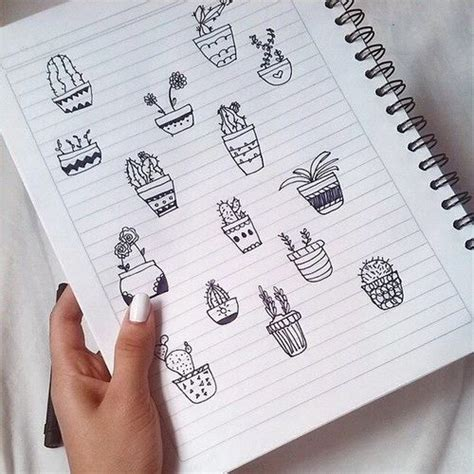 black cacti cactus cute doodle nails notebook