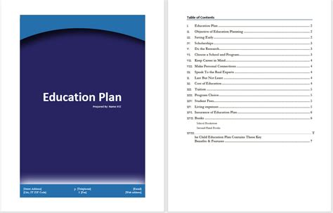 education plan template microsoft word templates