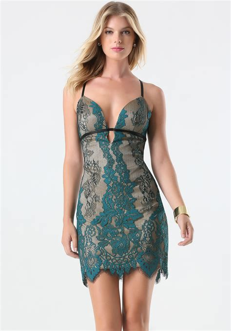 lace dress hollister bebe colorful lace dress in green lyst